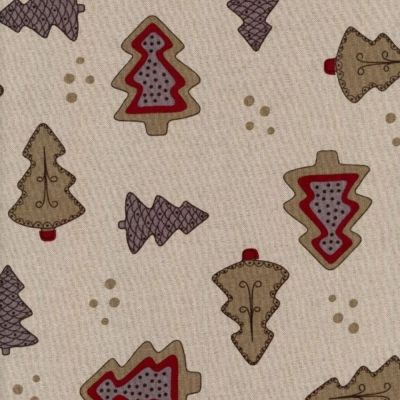 Cotton Fabric - Linen Look Canvas - Festive Trees On Natural