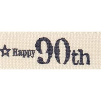 Remnant - Berisfords 15mm Special Birthday 90th Ribbon - 20m Reel - End of Line