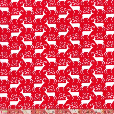 Polycotton - Scandi Reindeer Red