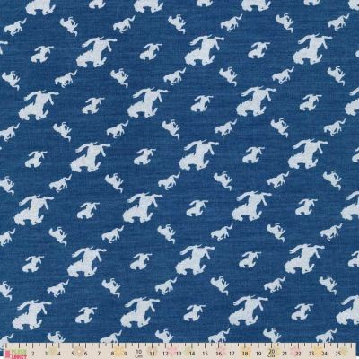 Chambray Cotton Fabric - Lacquard Horses