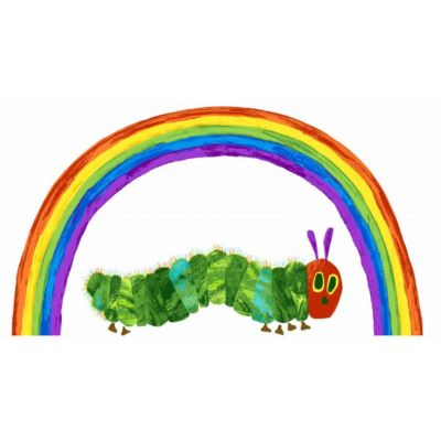 Remnant - Andover - The Very Hungry Caterpillar Classic - Rainbow Panel White - 55 x 110cm - Miscut