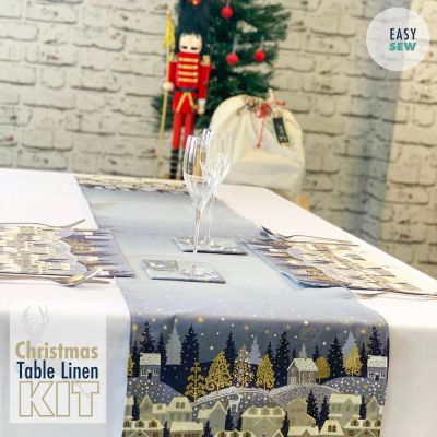 Scandi 2021 - Christmas Table Kit Silver - Table Runner, Place Mats & Coasters
