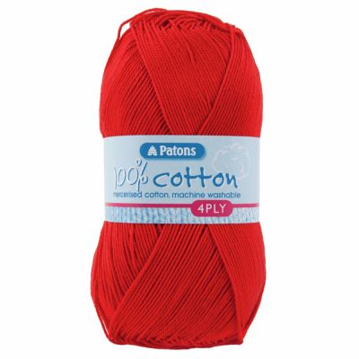 Patons Yarn - 100% Cotton 4 Ply 100g Ball - Red