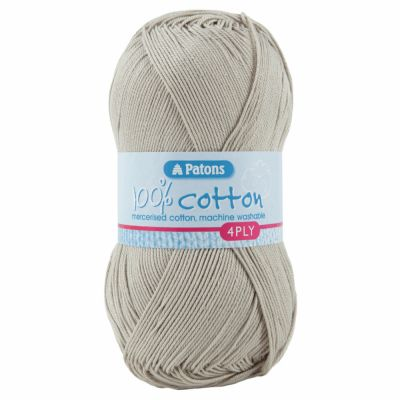 Patons Yarn - 100% Cotton 4 Ply 100g Ball - Limestone
