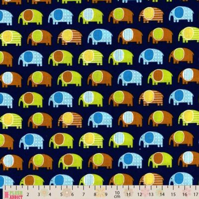 Robert Kaufman - Urban Zoologie Mini - Elephants Navy