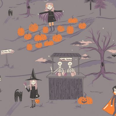 Art Gallery Fabrics - Spooky N Sweet - Peppermints Tale Nightfall