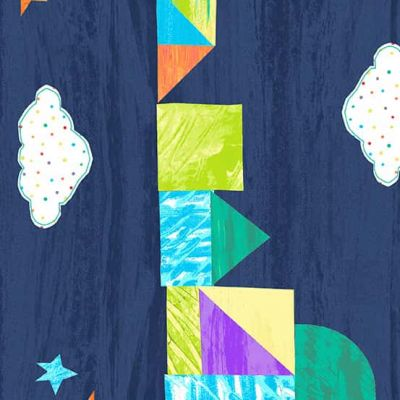 Andover The Very Hungry Caterpillar Bright Castle Stripe Dark Blue Cut Length