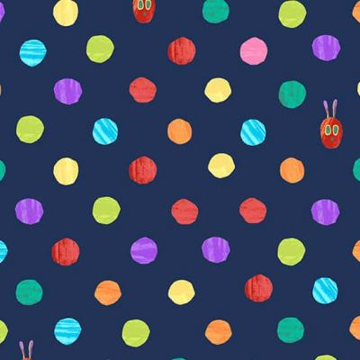 Remnant -  Andover - The Very Hungry Caterpillar Bright - Dots Dark Blue - 37 x 110cm