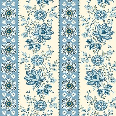 Andover - Perfect Union - Floral Stripe Blue Bell