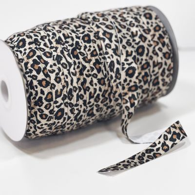 Fold Over Elastic 16mm Wide - Natural Animal Print