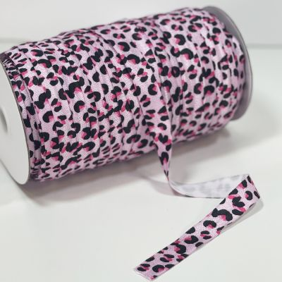 Fold Over Elastic 16mm Wide - Pink Animal Print