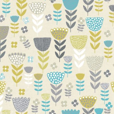 Annika - Teal - Curtain Fabric