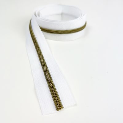 Metal Look Continuous Nylon Zips On White Surround - #5 Weight - 5 Styles