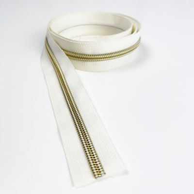 Metal Look Continuous Nylon Zips On Natural Surround - #5 Weight - 5 Styles