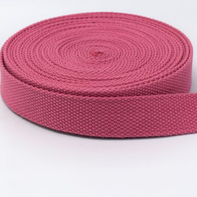 Strong Thick Woven Canvas Webbing  - Pink -  25mm Wide