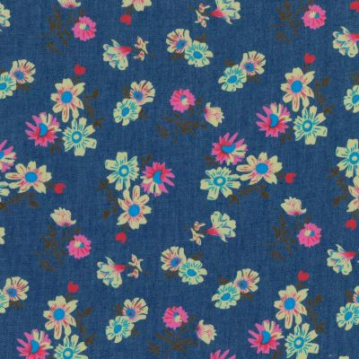 100% Cotton Chambray Fabric - Aster Floral