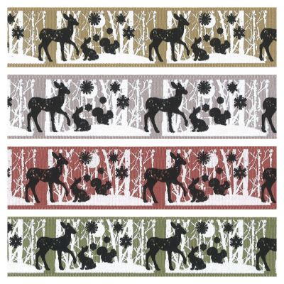 Berisfords Christmas Ribbon - Woodland Animals - 4 Colours - 25mm Wide