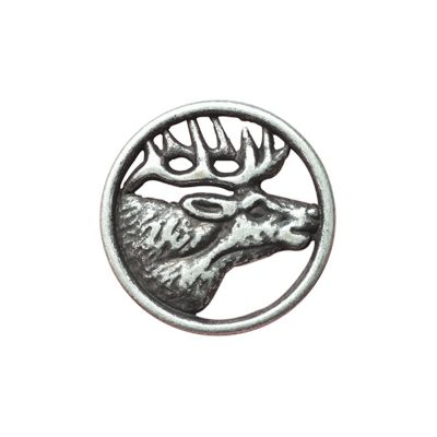 Round Metal Stag Shank Button - Old Silver - 15mm / 24L