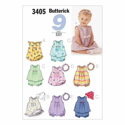 Butterick Sewing Pattern B3405 Infants' Dress, Top, Romper, Panties, Hat & Headband