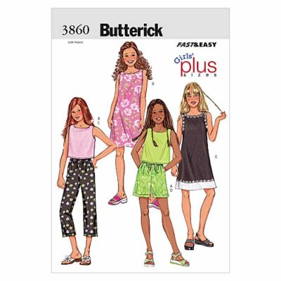 Butterick Sewing Pattern B3860 Girls'/Girls' Plus Top, Dress, Shorts & Pants