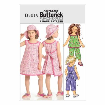Butterick Sewing Pattern B5019 Children's/Girls' Top, Dress, Pants and Hat