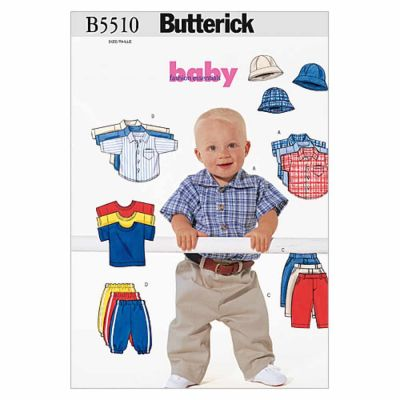Butterick Sewing Pattern B5510 Infants' Shirt, T-Shirt, Pants and Hat