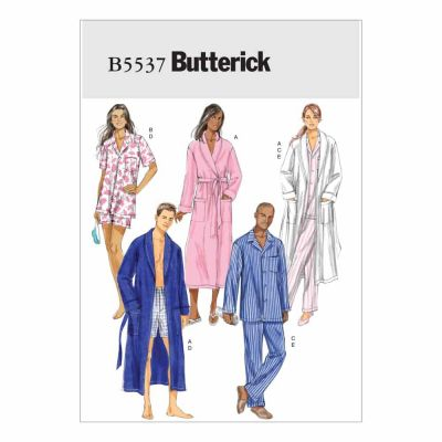 Butterick Sewing Pattern B5537 Misses'/Men's Robe, Belt, Top, Shorts and Pants