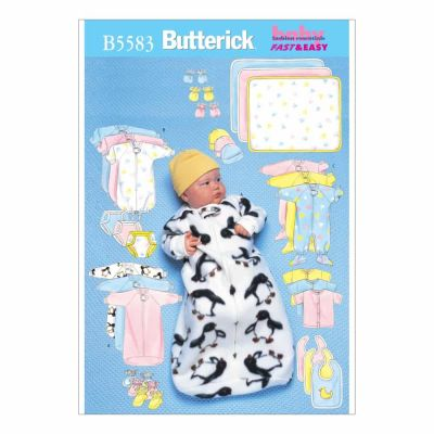 Butterick Sewing Pattern B5583 Infants' Bunting, Jumpsuit, Shirt, Diaper Cover, Blanket, Hat, Bib, Mittens and Booties