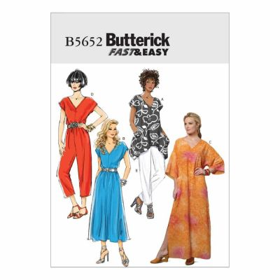 Butterick Sewing Pattern B5652 Misses' Top, Dress, Caftan, Jumpsuit and Pants