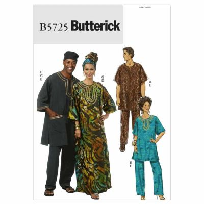 Butterick Sewing Pattern B5725 Misses'/Men's Tunic, Caftan, Pants, Hat and Head Wrap