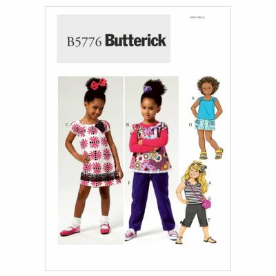 Butterick Sewing Pattern B5776 Children's/Girls' Top, Dress, Shorts, Pants and Bag