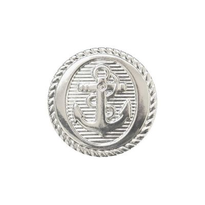 Metal Coated Anchor Buttons With Shank - Silver - 15mm / 24L