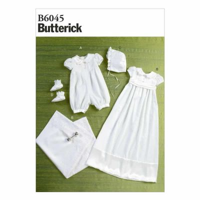 Butterick Sewing Pattern B6045 Infants' Romper, Dress, Sash, Hat, Booties and Blanket