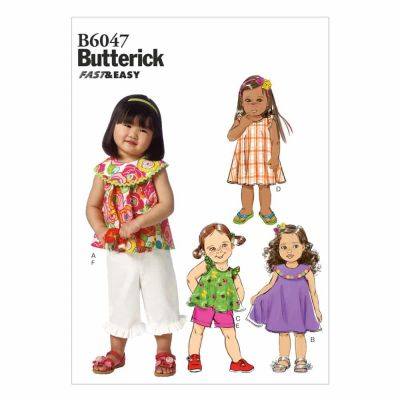 Butterick Sewing Pattern B6047 Toddlers' Top, Dress, Shorts and Pants