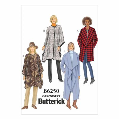 Butterick Sewing Pattern B6250 Misses' Jacket, Coat and Wrap