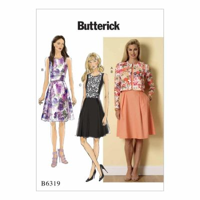 Butterick Sewing Pattern B6319 Misses' Cardigan and Pleated-Skirt Dress