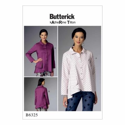 Butterick Sewing Pattern B6325 Misses' Pleated-Collar Asymmetrical-Hem Shirts