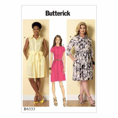 Butterick Sewing Pattern B6333 Misses'/Miss Petite/Women's/Women Petite Shirtdress and Sash