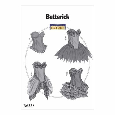 Butterick Sewing Pattern B6338 Curved-Hem Corsets and Skirts