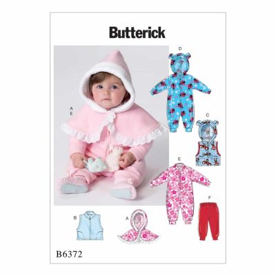 Butterick Sewing Pattern B6372 Infants' Cape, Vest, Buntings and Pull-On Pants