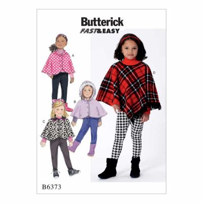 Butterick Sewing Pattern B6373 Children's/Girls' Capes and Poncho with Hood, Collar or Fringe Trim