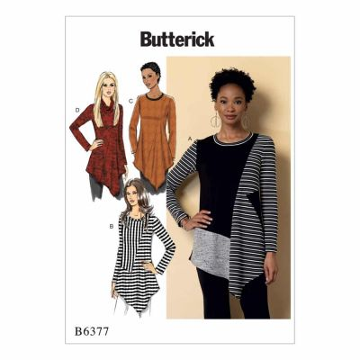 Butterick Sewing Pattern B6377 Misses' Seamed Tunics with Asymmetical Hems