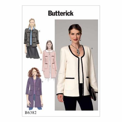 Butterick Sewing Pattern B6382 Misses' Open-Front Jackets with Patch Pockets