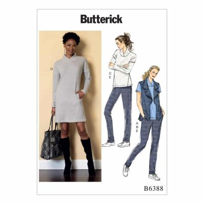 Butterick Sewing Pattern B6388 Misses' Lapped Collar Tops and Dress, Draped Collar Vest, and Pleated Pants