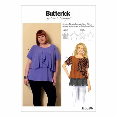 Butterick Sewing Pattern B6396 Misses'/Women's Asymmetical-Overlay Top
