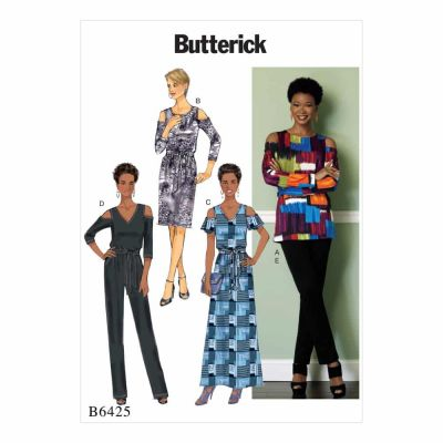 Butterick Sewing Pattern B6425 Misses' Cold-Shoulder Top, Dress and Jumpsuit, Pull-On Pants, and Sash