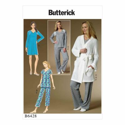 Butterick Sewing Pattern B6428 Misses' Robe, Raglan Sleeve Tops and Gown, and Pull-On Pants
