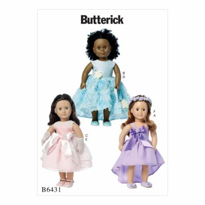 "Butterick Sewing Pattern B6431 Special Occasion Dresses, Bag, Gloves, and Headpiece for 18"" Doll"