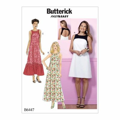 Butterick Sewing Pattern B6447 Misses' Back-Cutout Dresses with Yokes
