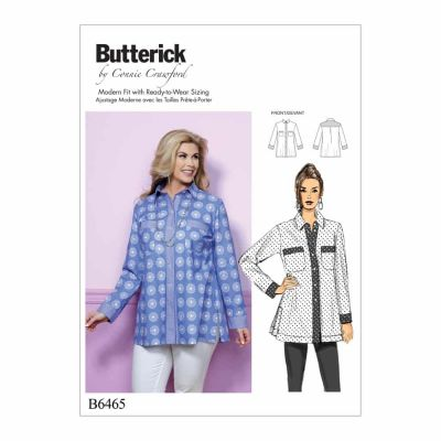 Butterick Sewing Pattern B6465 Misses'/Women's Button-Down Shirt with Side Slits and Bust Pockets